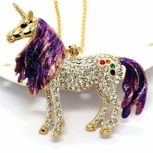 Statement 3D Unicorn Pendant Brooch Rhinestone NWT